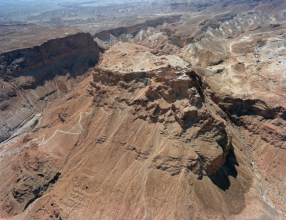 Aerial view showing Masada and the Snake Path