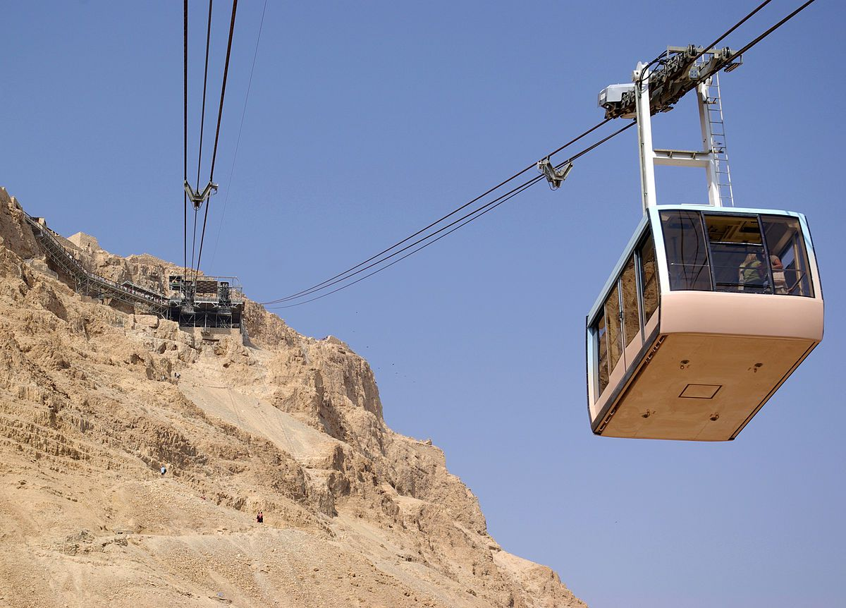 Cable car (Masada cableway) heading down from Masada