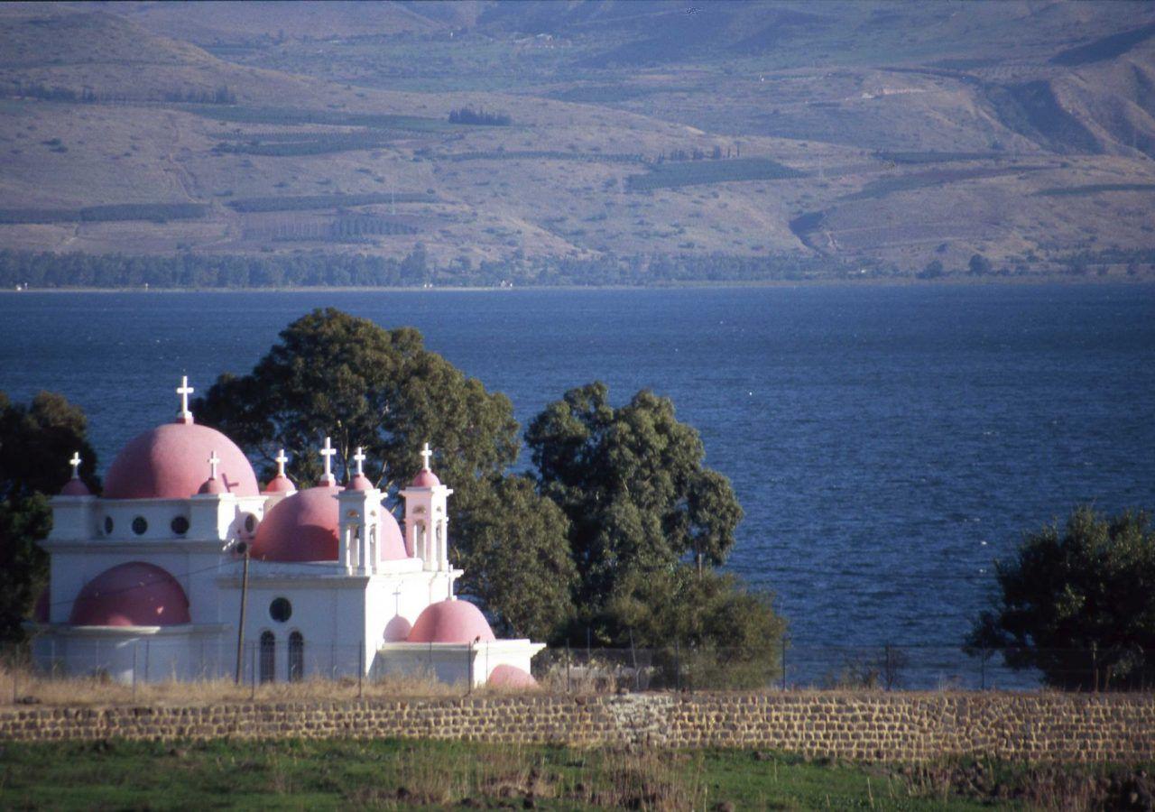 Capernaum The Greek Orthodox church and the Sea of Galilee